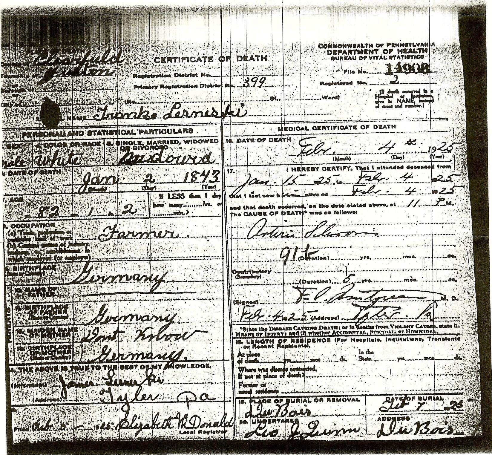 First generation lesneski family history view image vital records death certificate of dorothy lesneski pennsylvania department of xflitez Gallery