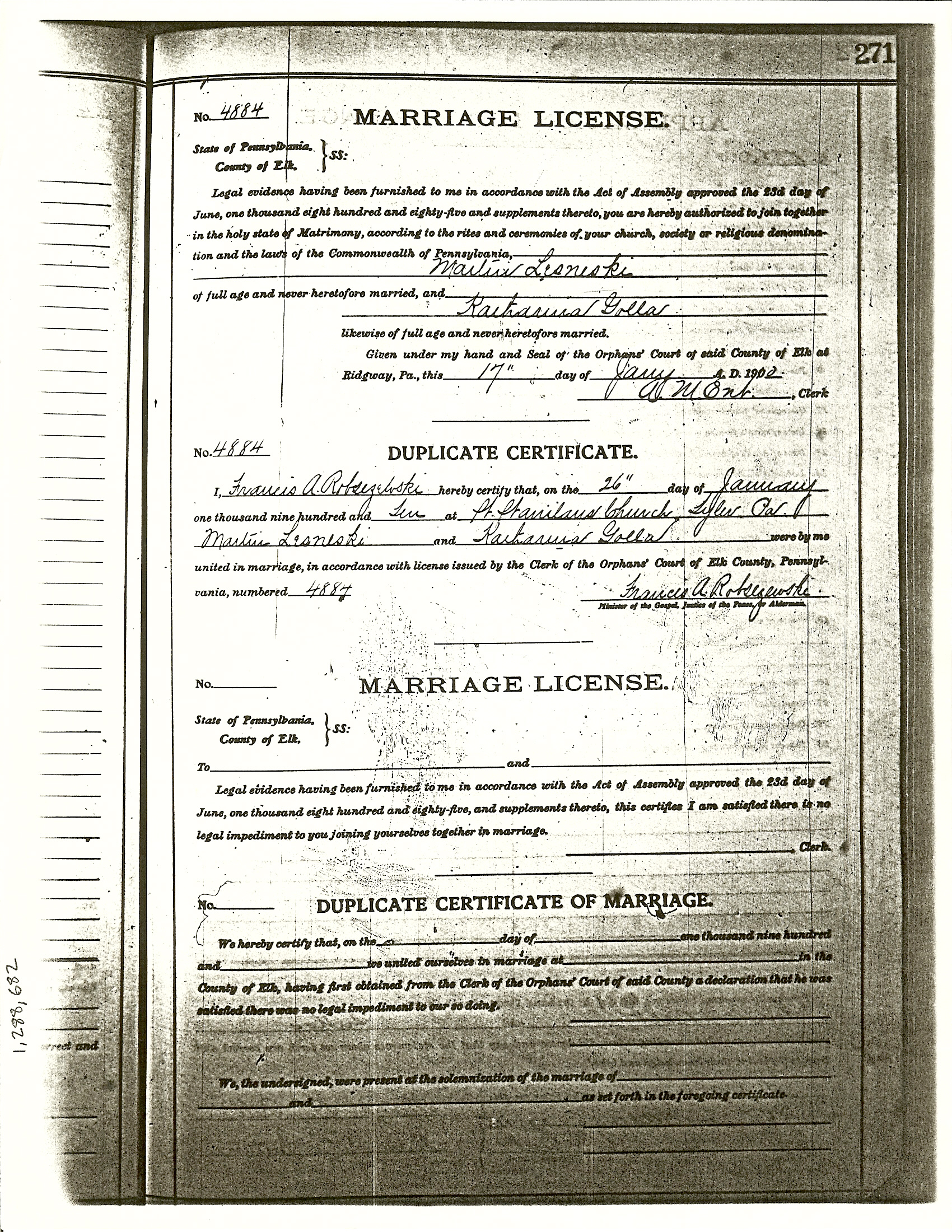 Second generation lesneski family history view image pennsylvania orphans court elk county marriage license docket 1885 1916 fhc film 1288682 marriage license for martin lesneski and aiddatafo Image collections